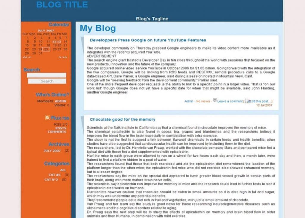 як виглядали блоги раніше