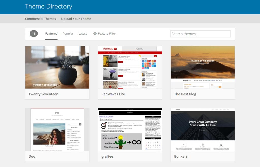 Теми WordPress в офіційному репозиторію